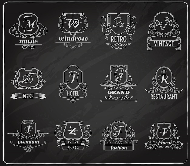 Set di lavagna di scudi monogramma