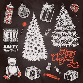 Set di lavagna natalizia