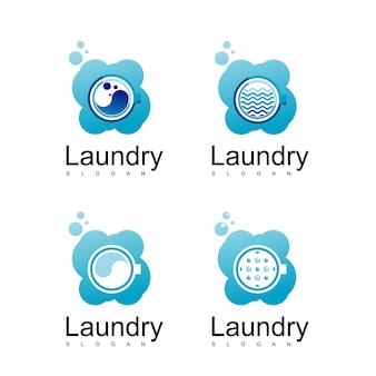 Set di lavanderia logo design vettoriale