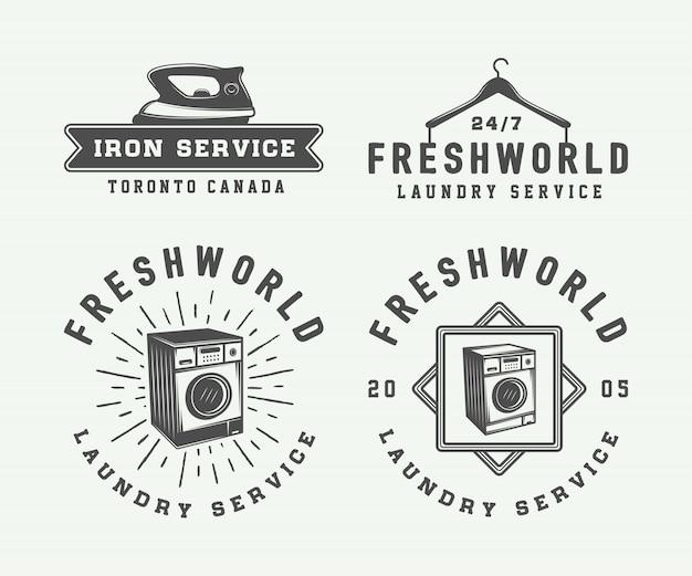 Set di lavanderia vintage, pulizia o ferro servizio loghi, emblemi, stemmi ed elementi di design. arte grafica monocromatica. illustrazione.