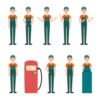 Set di lavoratore benzinaio