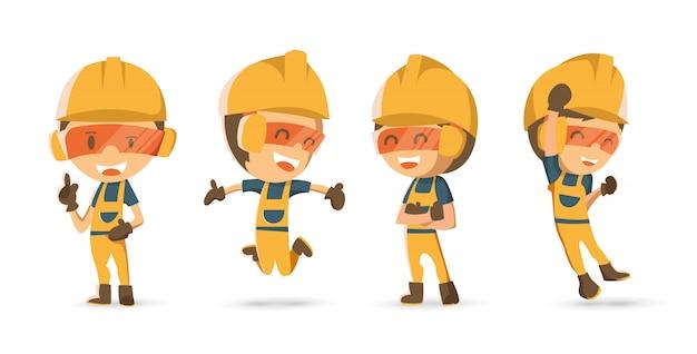 Set di lavoratore costruttore di carattere in diverse emozioni.