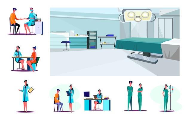 Set di lavoratore di laboratorio fiducioso, medico e infermieri
