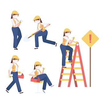 Set di lavoratori edili femminili