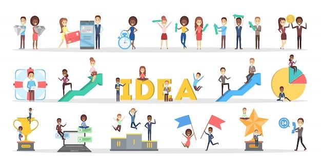 Set di lavoro di squadra di affari. raccolta di persone che lavorano in gruppo e hanno discussioni, celebrando il successo. lavoratore con coppa e chiave trofeo. brainstorm e strategia. vector piatta illustrazione