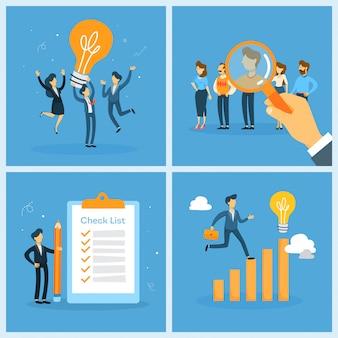 Set di lavoro di squadra di affari. raccolta di persone che lavorano in gruppo, trovano una soluzione. operaio con cheklist e lampadina. searchinf per candidato. illustrazione