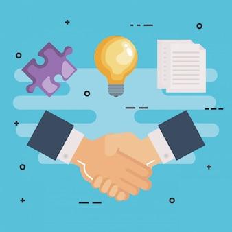 Set di lavoro di squadra di affari