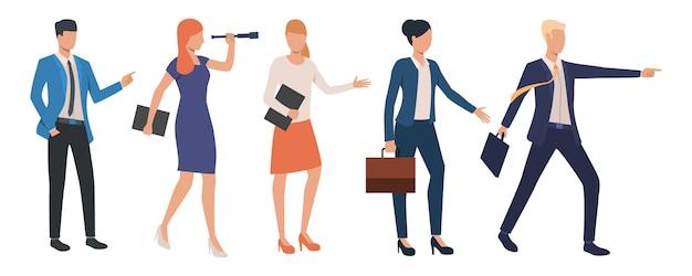 Set di leader aziendali creativi che raggiungono il successo