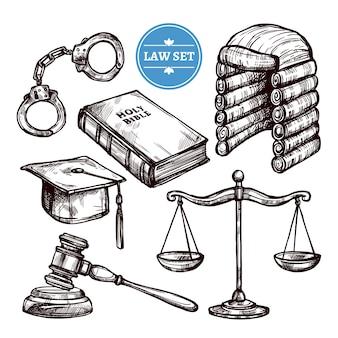 Set di legge disegnata a mano