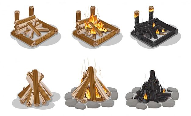 Set di legna da ardere marrone e nero isolato