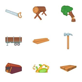 Set di legna da ardere, stile cartoon