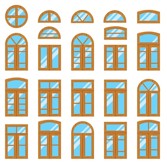 Set di legno vintage o finestre in legno vista