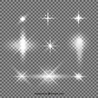Set di lens flare bianco con stile realistico
