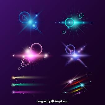 Set di lens flare colorato con stile realistico
