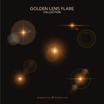 Set di lens flare oro con stile realistico