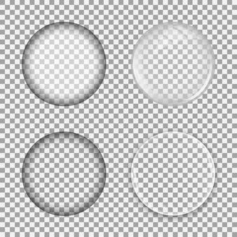 Set di lenti di vetro su sfondo trasparente. modello di bolla sfera