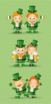Set di leprechaun irlandese, giorno di san patrizio