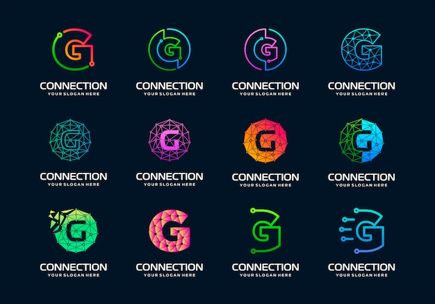 Set di lettera iniziale creativa g modern digital technology logo design.