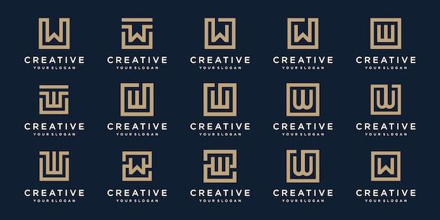 Set di lettera logo w con stile quadrato. modello