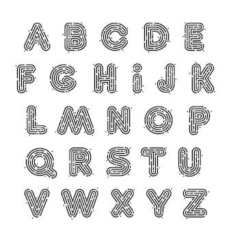 Set di lettere al neon in bianco e nero o impronte digitali. stile del carattere, elementi del modello di progettazione.