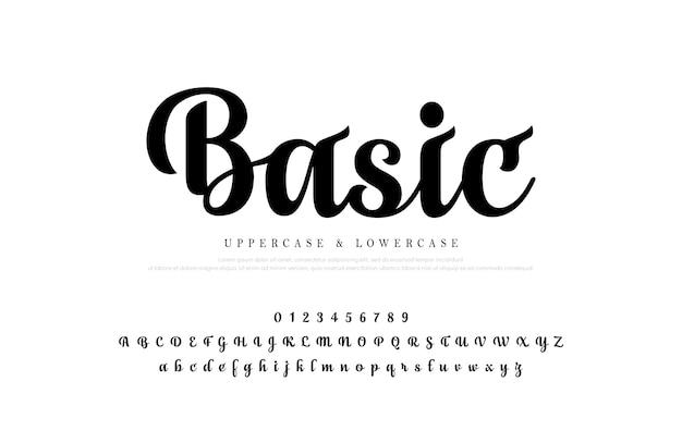 Set di lettere alfabeto elegante. disegni di iscrizione personalizzati classici