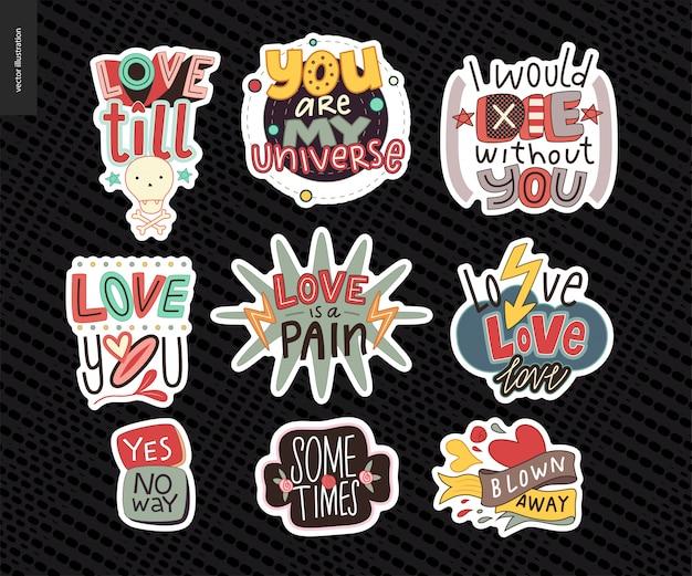Set di lettere d'amore contemporanea girlie