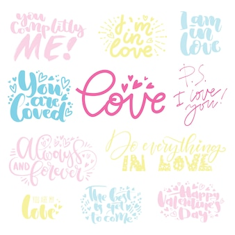 Set di lettere d'amore per san valentino. illustrazione di vettore di citazione di lettering disegnato a mano