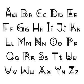 Set di lettere dell'alfabeto etnico. lettere maiuscole e minuscole in autentico stile indigeno. per tema hipster, poster e banner boho alla moda
