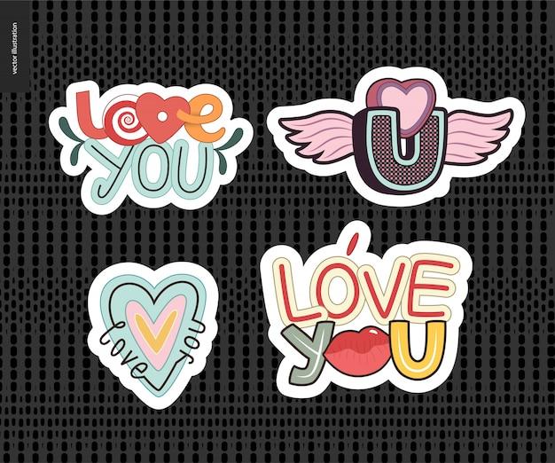 Set di lettere di love you contemporanea girlie