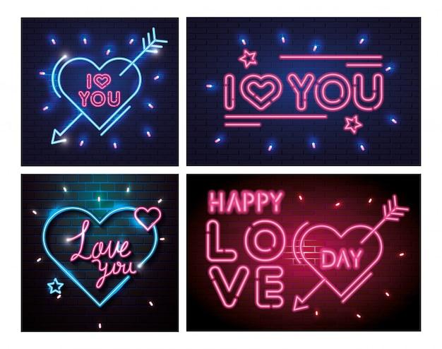 Set di lettere di luce al neon per san valentino