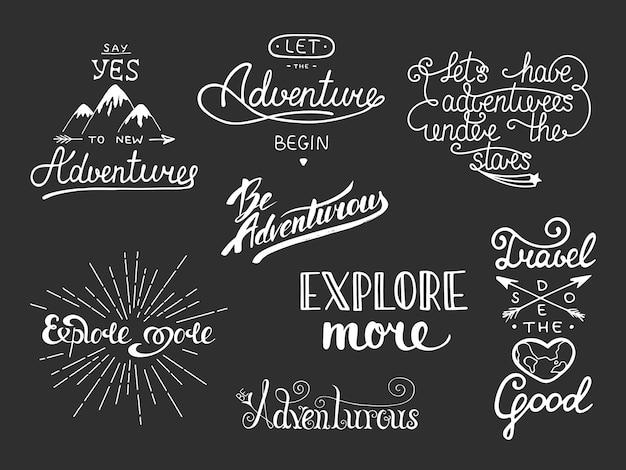Set di lettere disegnate a mano di viaggio e avventura