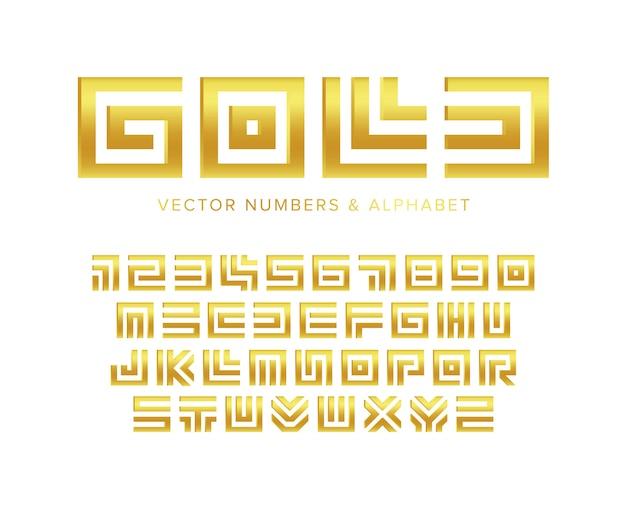 Set di lettere e numeri d'oro. labirinto geometrico design tipografia dorata.