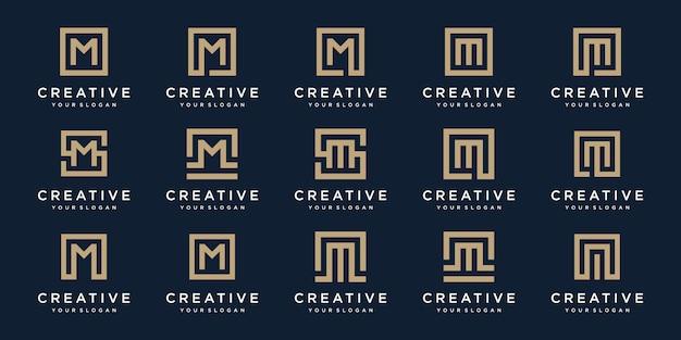 Set di lettere logo m con stile quadrato. modello