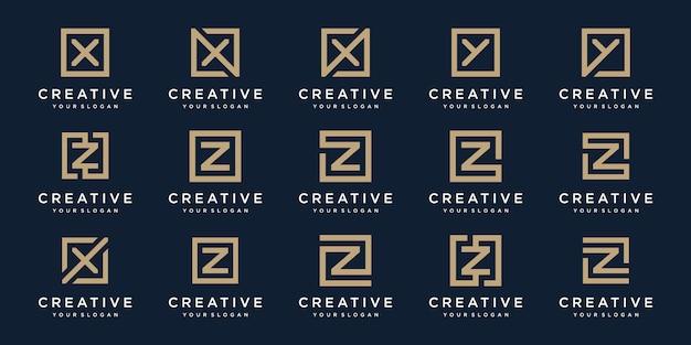 Set di lettere logo x, y e z con stile quadrato. modello