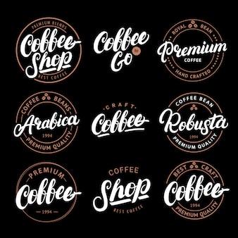 Set di lettere scritte a mano caffè