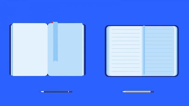 Set di libri aperti piatti con matite