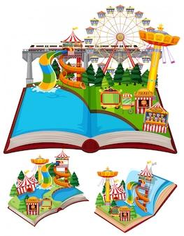 Set di libri con molte giostre nel circo