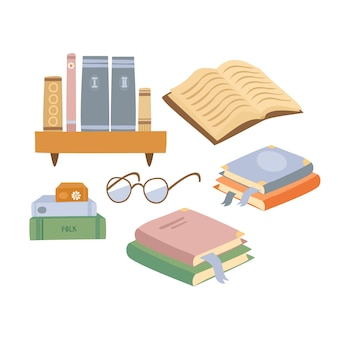 Set di libri disegnati a mano