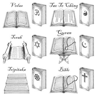 Set di libri sacri stile schizzo disegnato a mano inchiostro.