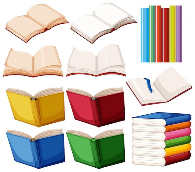 Set di libri su sfondo bianco