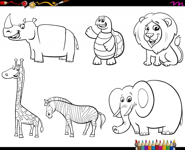Set di libro a colori di personaggi animali