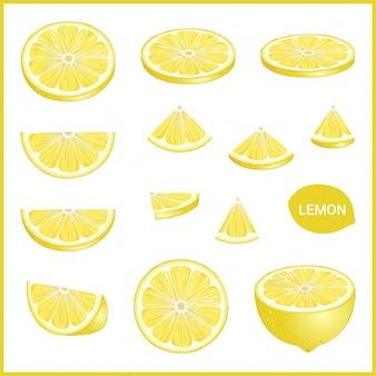 Set di limone giallo fresco in vari stili di fetta formato vettoriale