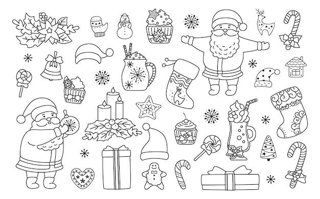 Set di linea di natale e capodanno. agrifoglio lineare nero, cupcake, tazza, cappello, regalo di babbo natale e biscotti, candela lecca-lecca. disegno del fumetto piatto. anno nuovo, collezione natalizia. illustrazione isolata