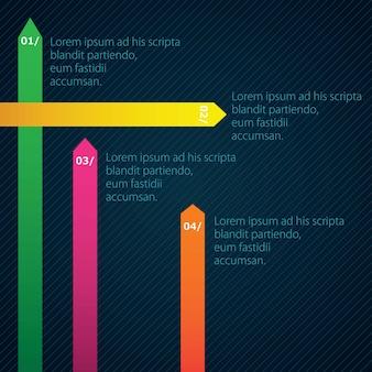 Set di linee di colori numerati su sfondo scuro
