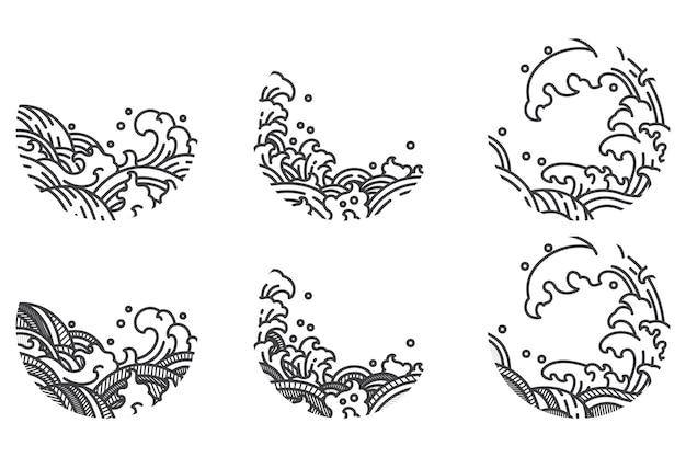 Set di linee tradizionali a onde d'acqua.