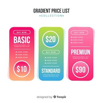 Set di listini prezzi sfumati