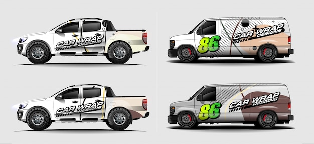 Set di livrea auto grafica vettoriale. disegno astratto forma da corsa per lo sfondo dell'involucro del vinile del veicolo