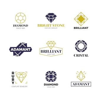 Set di loghi diamantati. etichette di lusso con brillanti brillanti. collezione di diamanti, pietre preziose brillanti