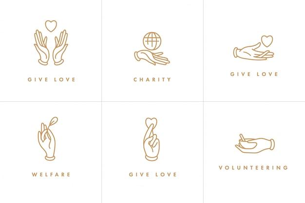 Set di loghi, distintivi e icone per concetti di beneficenza e volontariato. progettazione di segni di organizzazione filantropica. simbolo di raccolta delle organizzazioni di volontariato.