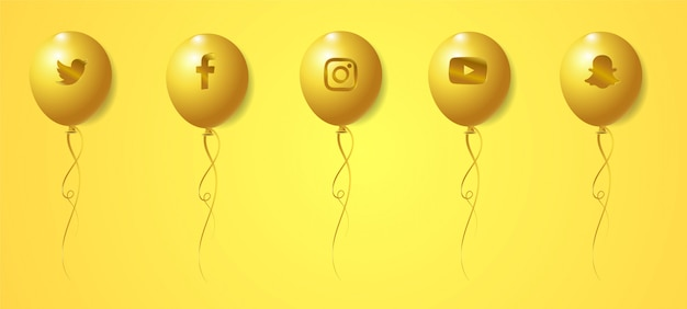 Set di loghi dorati loghi social media